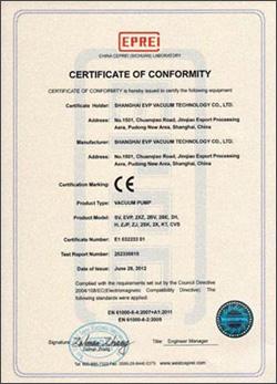 CE Certificate of evp vacuum pump