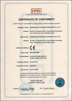 CE Certificate of evp vacuum pump English